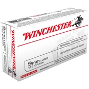 Winchester USA 9mm 115 Gr. Jacketed Hollow Point, 50 Rounds