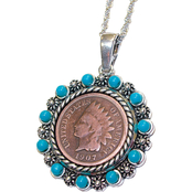 Silvertone Indian Head Penny Pendant with Real Turquoise Beads
