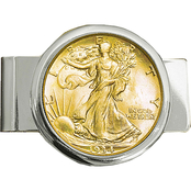 Silvertone Money Clip with Gold Layered Silver Walking Liberty Half Dollar