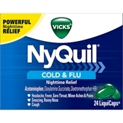 Vick's NyQuil Cold and Flu Nighttime Relief LiquiCap 24 Pk.