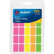 Avery Assorted Neon Removable Color Coding Labels, Rectangle, 525 pk.