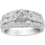 14K White Gold 1 1/2 CTW Fancy 3 Stone Diamond Ring, Size 7