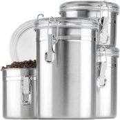 Anchor Hocking 4 Pc. Stainless Steel Clamp Canister Set