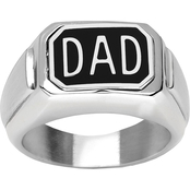 Stainless Steel Flip Dad Diamond Accent Ring