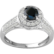 14K White Gold 1 1/4 CTW Black and White Diamond Engagement Ring, Size 7