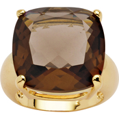 PalmBeach 14K Yellow Gold Plated Smoky Quartz Ring