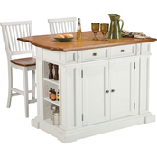 Home Styles Traditions White Kitchen Island And 2 Stools