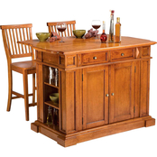 Home Styles Traditions Cottage Oak Kitchen Island And 2 Stools