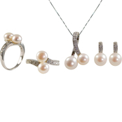 Sterling Silver Cultured Freshwater Pearl Set with Diamond Accents