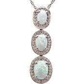 Sterling Silver Lab-Created Opal Pendant with Diamond Accents