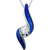 Sirena 14K White Gold 1/10 ct. Diamond Blue Ceramic Pendant