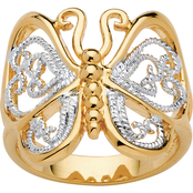 PalmBeach 14K Yellow Gold Plated Filigree Butterfly Ring