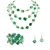 PalmBeach Silvertone Green Shell Nugget Jewelry Set