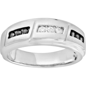 Sterling Silver 1/4 CTW Black and White Diamond Ring, Size 10