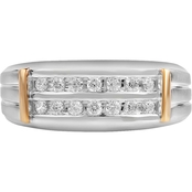 Sterling Silver and 14K Yellow Gold 3/8 CTW 2 Row Diamond Band