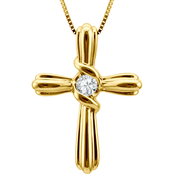 Sirena 10K Yellow Gold Diamond Accent Cross Pendant
