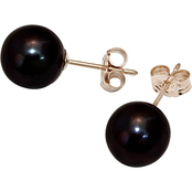 14K Yellow Gold 8-9mm Cultured Freshwater Dyed Black Pearl Studs