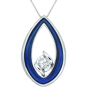 Sirena 14K White Gold 1/7 ct. Diamond and Blue Ceramic Oval Pendant