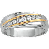 Sterling Silver and 14K Yellow Gold 1/4 CTW Wedding Band