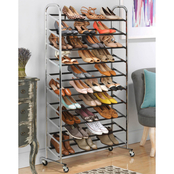 Whitmor Chrome Supreme 50 Pair Shoe Rack