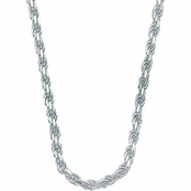 PalmBeach Sterling Silver 20 in. Diamond-Cut Rope Chain