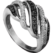 Sterling Silver 1/5 ct. TDW White and Black Diamond Ring
