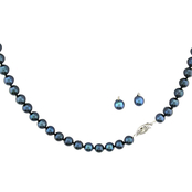14K White Gold 6-6.5mm Black Akoya Pearl Necklace and Stud Earring Set