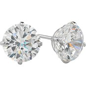 14K White Gold 7mm Round Cubic Zirconia Earrings