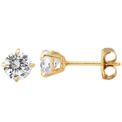 14K Yellow Gold 4mm Round Cubic Zirconia Earrings