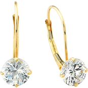 14K Yellow Gold 6mm Round Cubic Zirconia Earrings