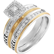 Sterling Silver and 10K Yellow Gold 1/4 CTW Diamond Bridal Set, Size 7