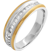 Sterling Silver and 10K Yellow Gold 1/10 CTW Diamond Band Size 10.5