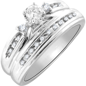 Sterling Silver 1/3 CTW Diamond Bridal Set