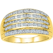 10K Yellow Gold 1/2 CTW Diamond Anniversary Band, Size 7