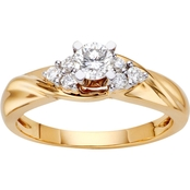14K Gold 1/2 CTW Diamond Engagement Ring, Size 7