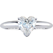 14K White Gold 1 ct. Heart Shaped Diamond Solitaire Ring, Size 7