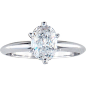14K White Gold 1 ct. Oval Cut Diamond Solitaire Ring, Size 7