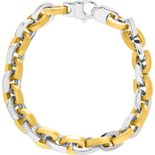 Two Tone Stainless Steel Horseshoe Link Bracelet