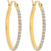 Diamond Fascination 18K Yellow Gold over Sterling Silver Oval Hoop Earrings