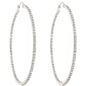 Diamond Fascination Platinum over Sterling Silver Large Round Hoops with Diamond Accents