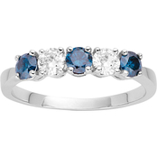 14K White Gold 1/7 CTW Celeste Blue and White Diamond Band