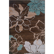 Linon 8 ft. X 10 ft. 3 in. Milan Collection Area Rug, Ivory, Brown, Turquoise