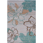 Linon 8 X 10 ft. 3 in. Milan Collection Area Rug, Brown, Ivory, Turquoise