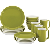 Rachael Ray Round and Square 16 pc. Green Stoneware Dinnerware Set