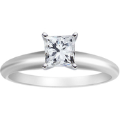 14K White Gold 1 1/4 CTW Princess Cut Diamond Solitaire Ring, Exceptional