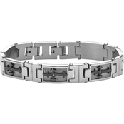 PalmBeach Stainless Steel and Black Ion Plated Cross Link Cubic Zirconia Bracelet