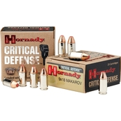 Hornady Critical Defense 9mm Makarov 90 Gr. Flex Tip Hollow Point, 25 Rounds