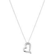 Argentium Silver Sweeping Heart Pendant with Diamond Accents