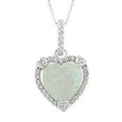 Sterling Silver Created Opal Birthstone Pendant with Diamond Accents - October