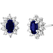 14K White Gold 1/3 CTW Sapphire and Diamond Earrings